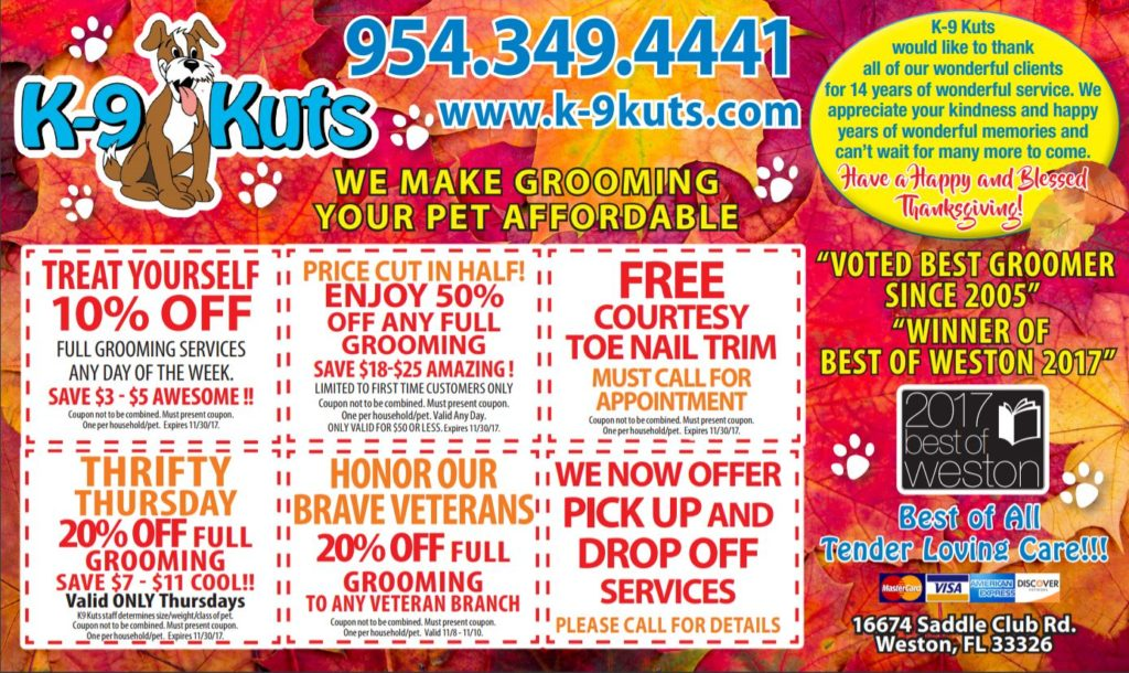 dog groomer coupons weston florida
