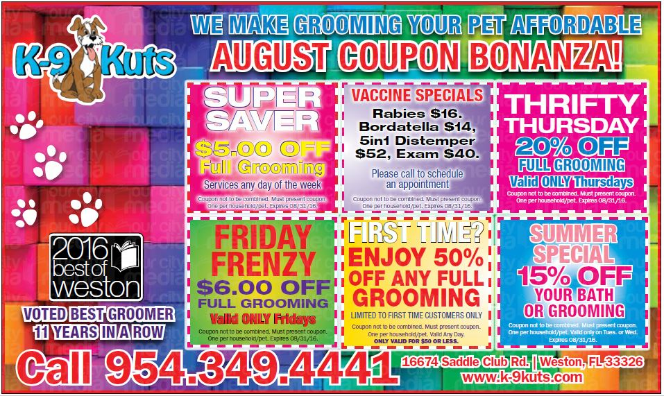 k-9 kuts affordable weston dog groomer august 2016 coupons special prices