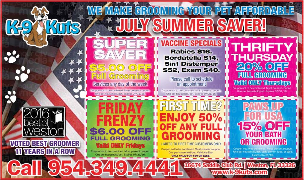 k-9 kuts affordable weston dog groomer july 2016 coupons special prices