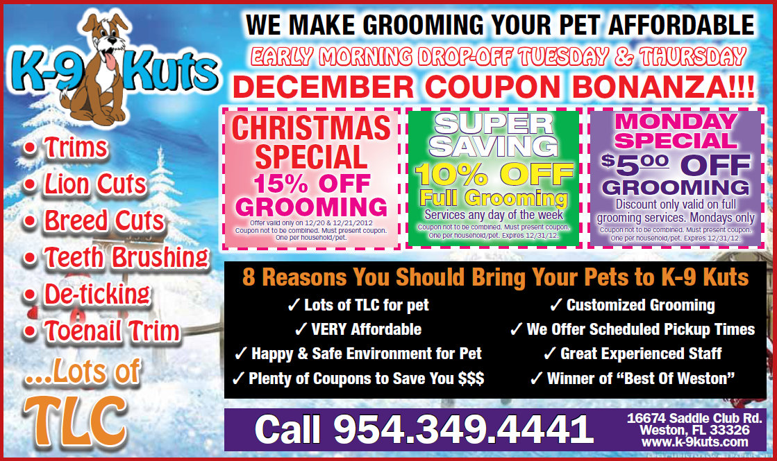 Grooming Discounts and December Specials at K-9 Kuts, Weston