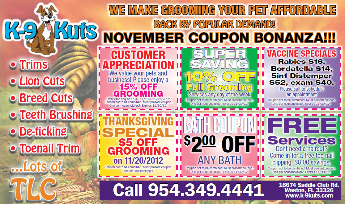 Grooming Discounts and November Specials at K-9 Kuts