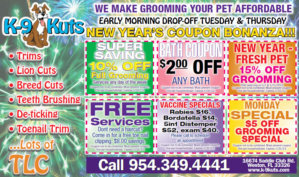 Grooming Discounts and January Specials at K-9 Kuts