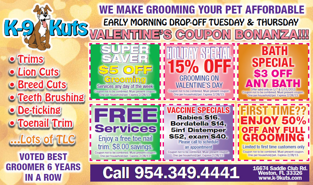 Dog Groomers in Weston, FL offer Discounts and February Specials at K-9 Kuts