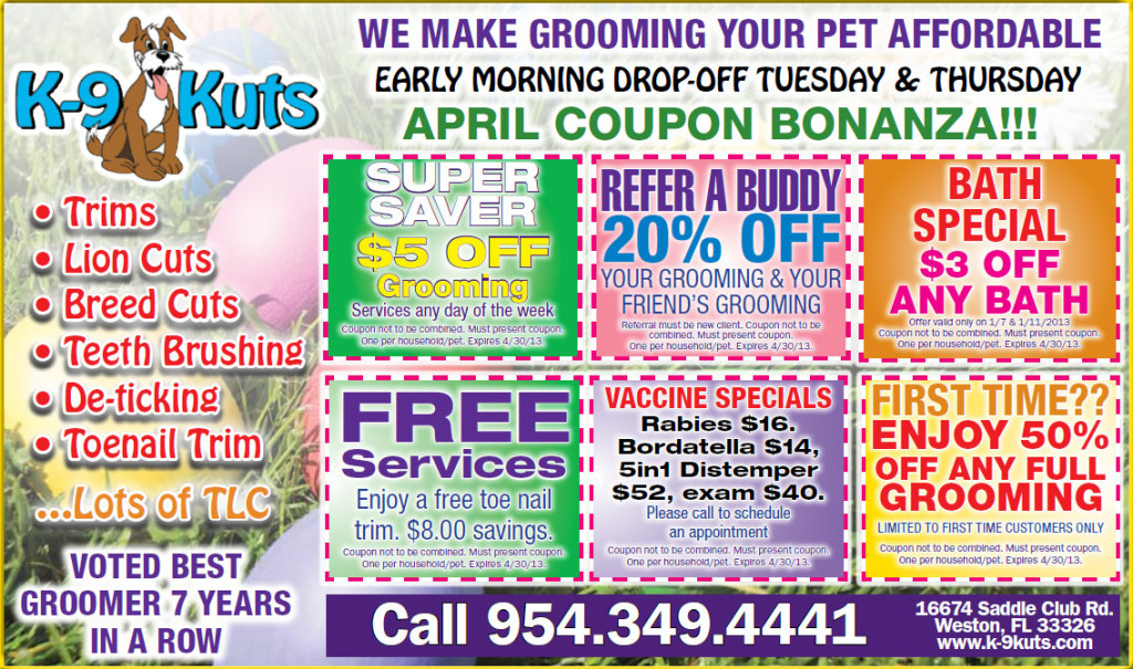k-9 kuts affordable groomers weston dog groomer April coupons special prices