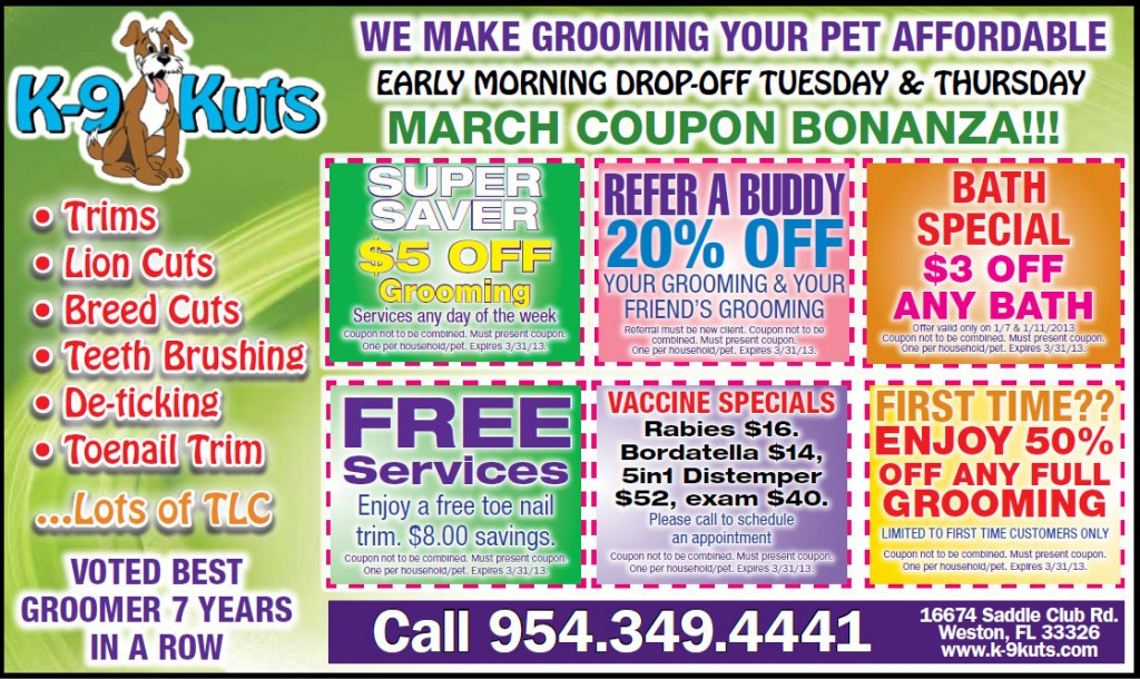 k-9 kuts weston dog groomer march coupons special prices