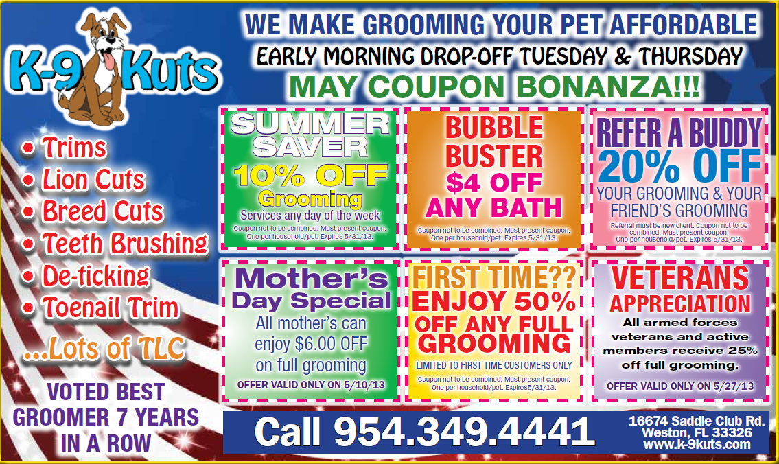 May Coupons Released by the Affordable Groomer in Weston!