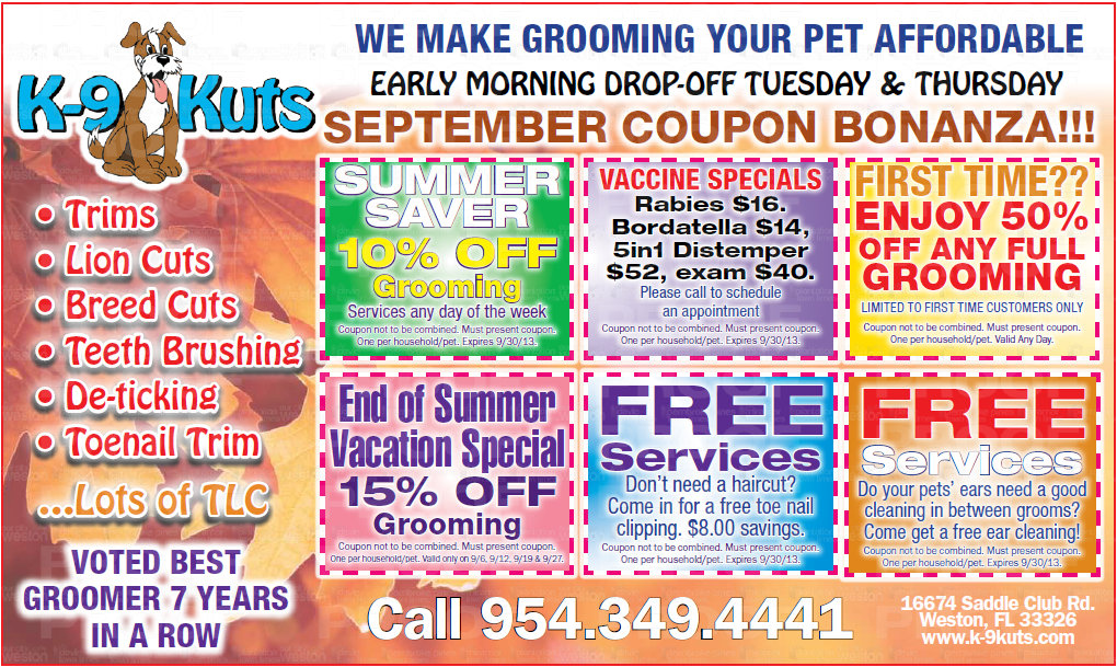 k-9 kuts weston dog groomer August 2013 coupons special prices
