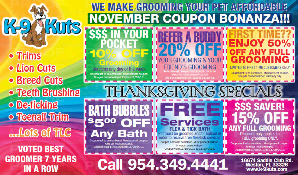 K-Kuts, an affordable groomer in weston offers November coupons
