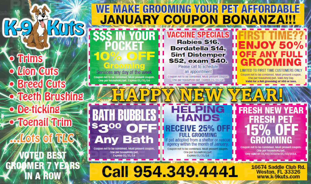 k-9 kuts weston affordable dog groomer dog January 2014 coupons special prices