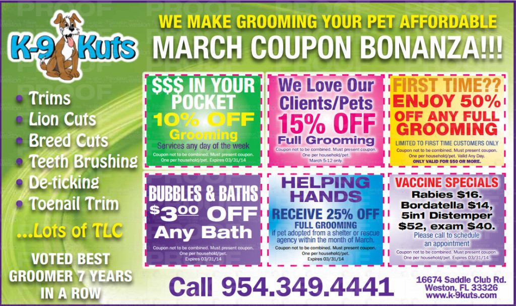 k-9 kuts march 2014 coupons weston dog groomer