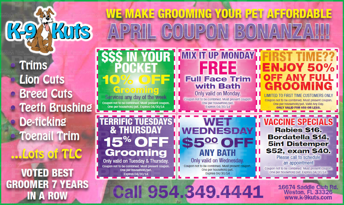 Best Groomer in Weston Releases April Coupons
