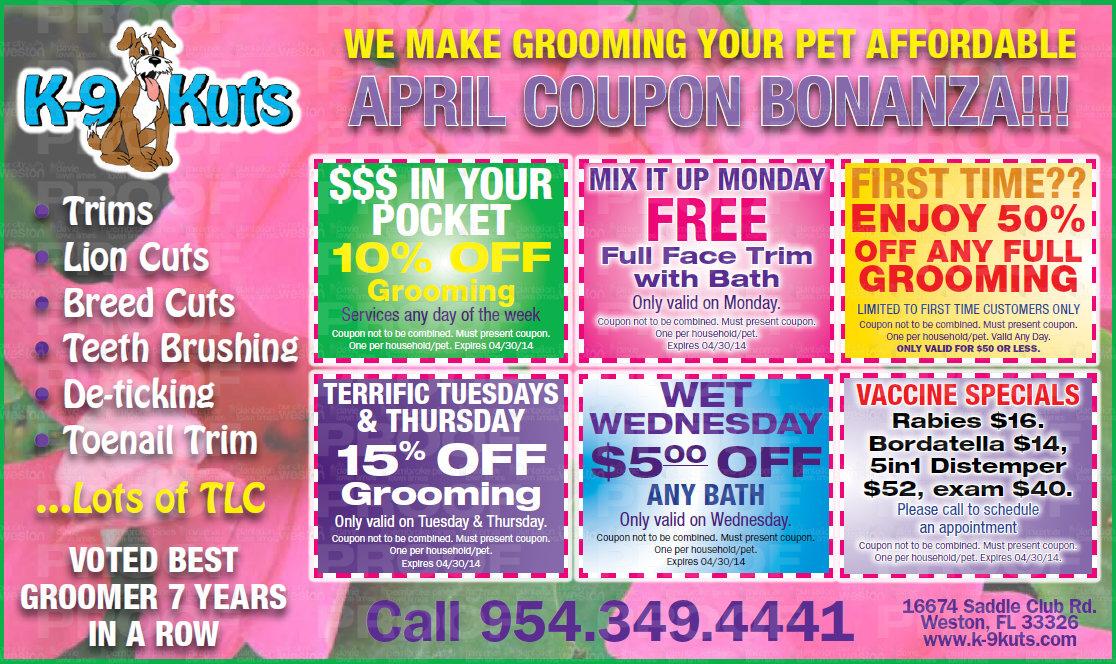 k-9 kuts weston dog groomer coupons april 2014