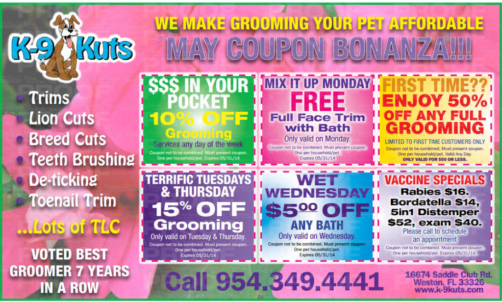 k-9 kuts affordable weston dog groomer May 2014 coupons special prices
