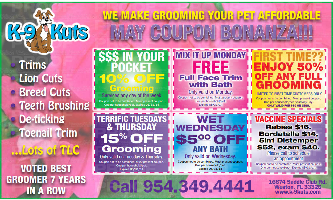 Mothers Day Coupons from The Best Groomer in Weston