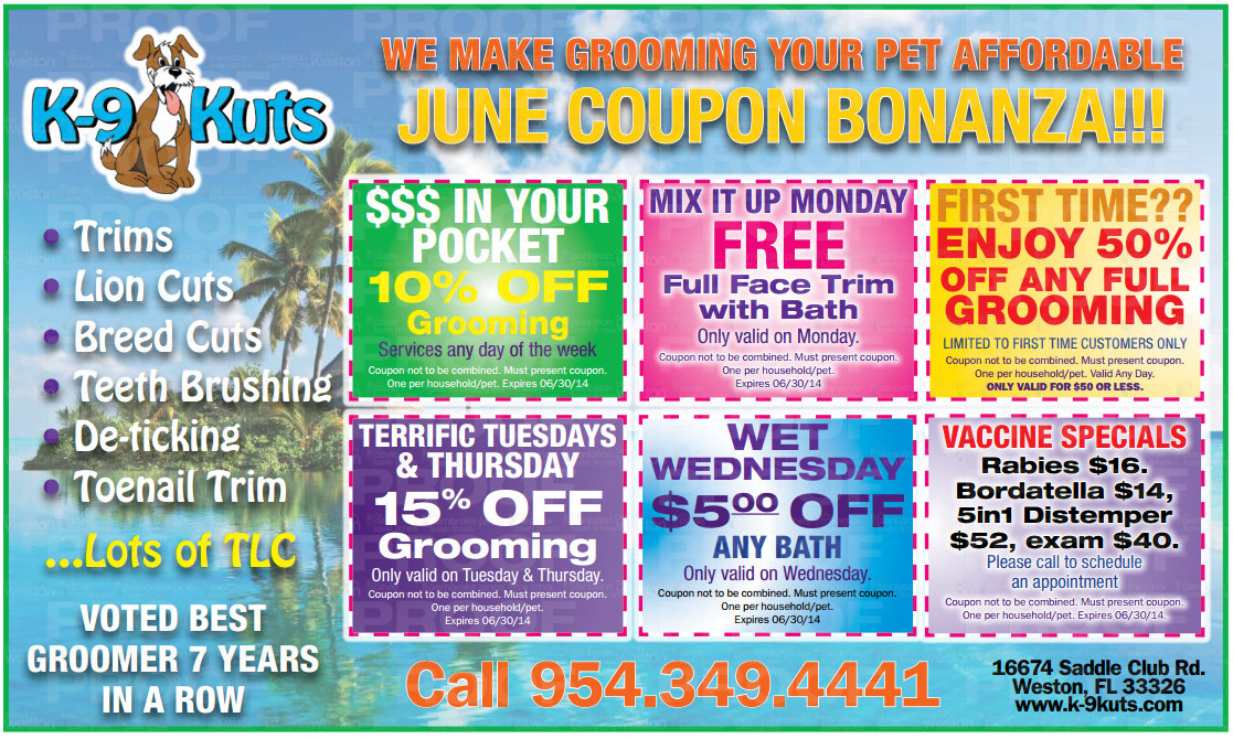 June Fathers Day Coupons from The Best Dog Groomer Weston