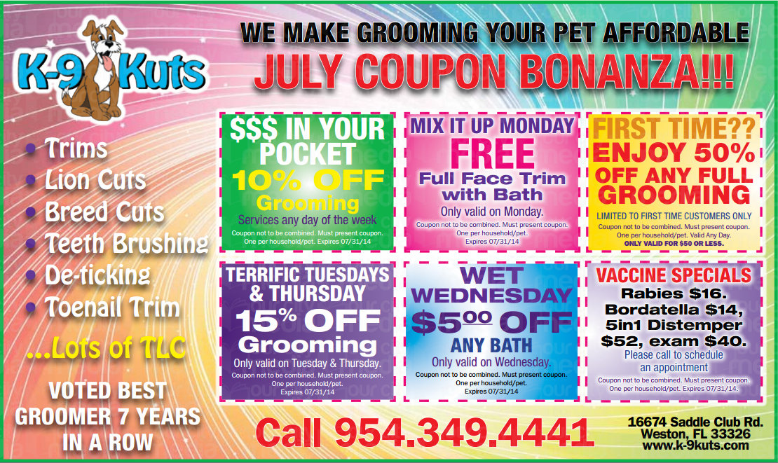 July 4th Coupons from The Weston's Best Dog Groomer