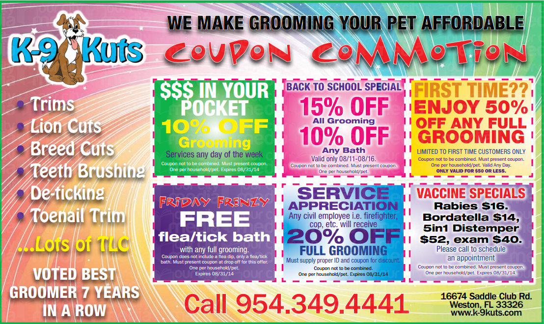 August Coupons from Weston's Best Dog Groomer