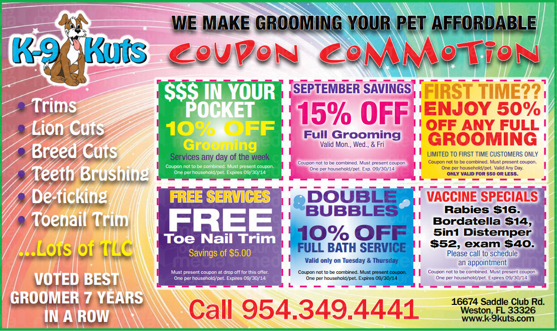September Coupons from Weston's Best Dog Groomer