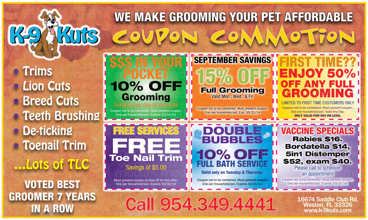 k-9 kuts affordable weston dog groomer October 2014 coupons special prices