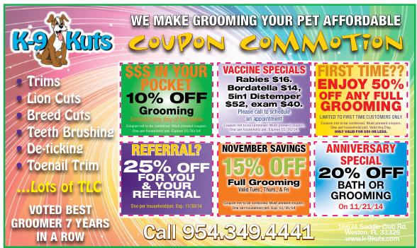 k-9 kuts weston dog groomer dog November coupons special prices