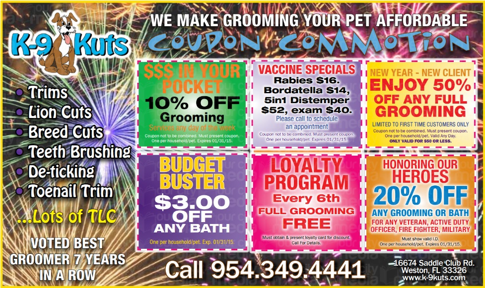 k-9 kuts affordable weston dog groomer January 2015 coupons special prices