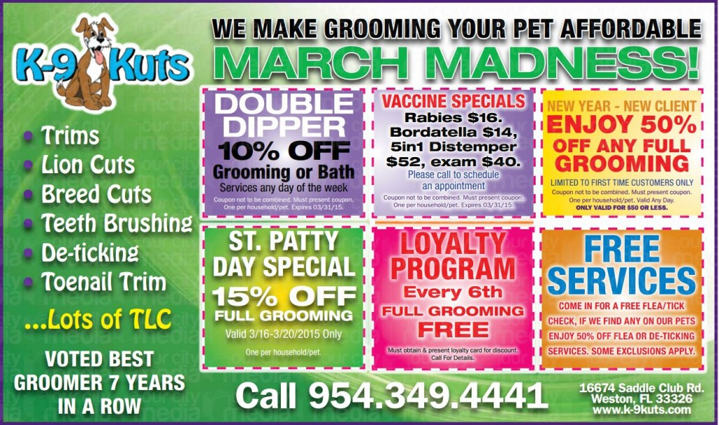 k-9 kuts affordable weston dog groomer march 2015 coupons special prices