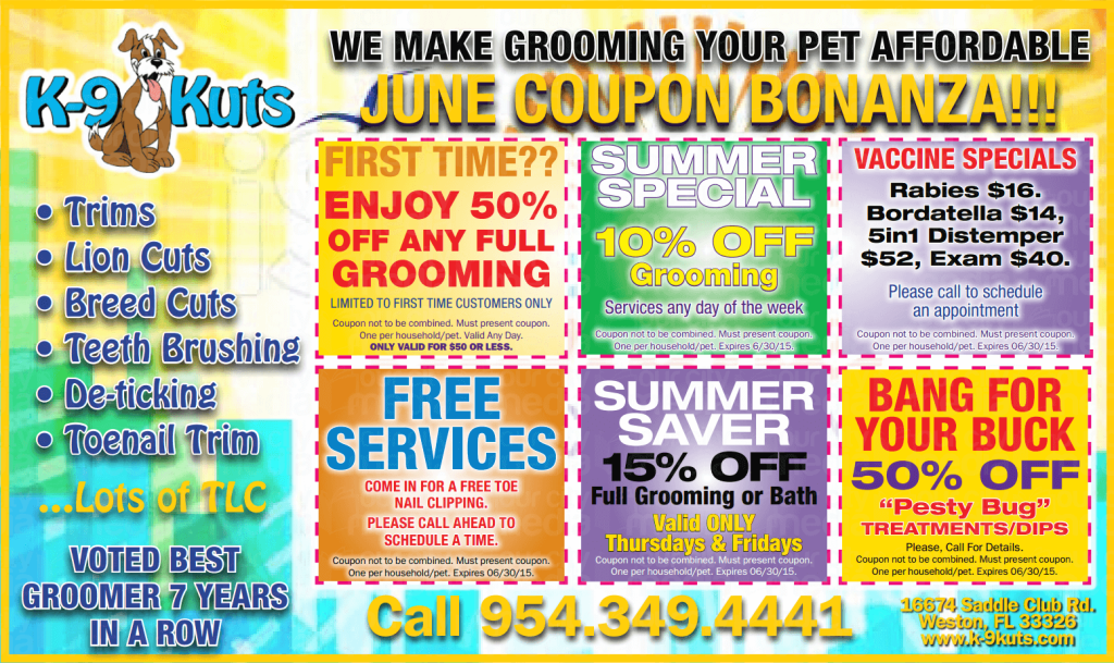 k-9 kuts affordable weston dog groomer june 2015 coupons special prices reduced