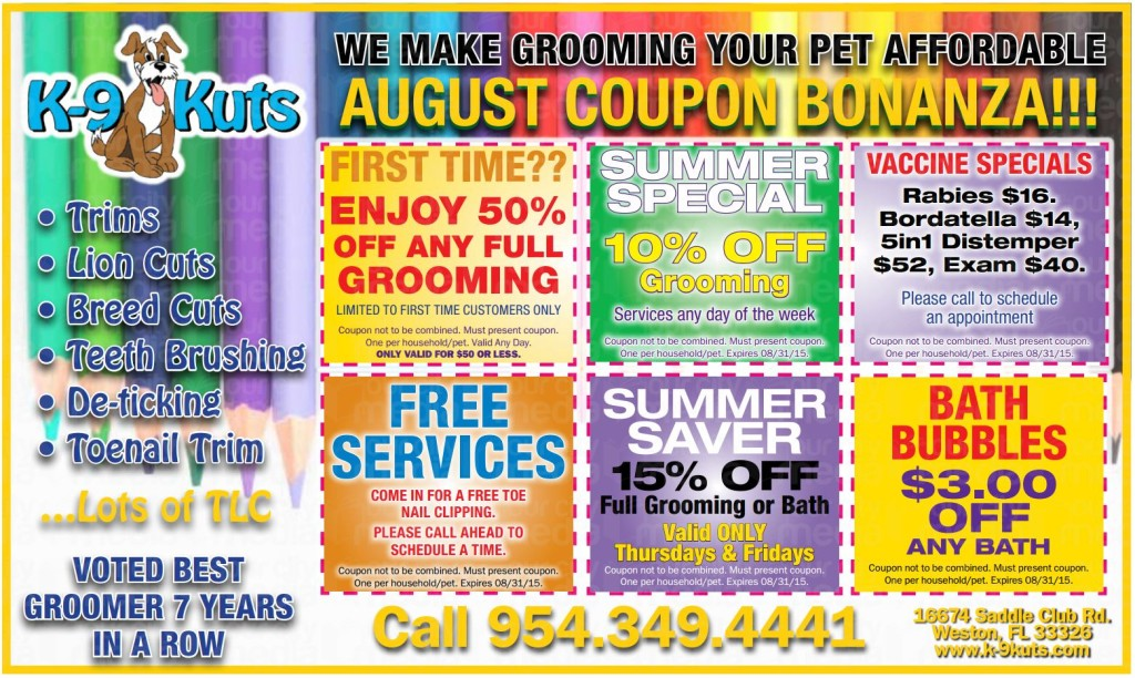 k-9 kuts affordable weston dog groomer august 2015 coupons special prices
