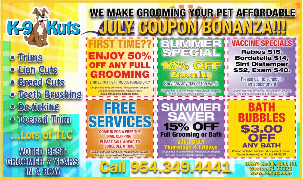 k-9 kuts affordable weston dog groomer july 2015 coupons special prices