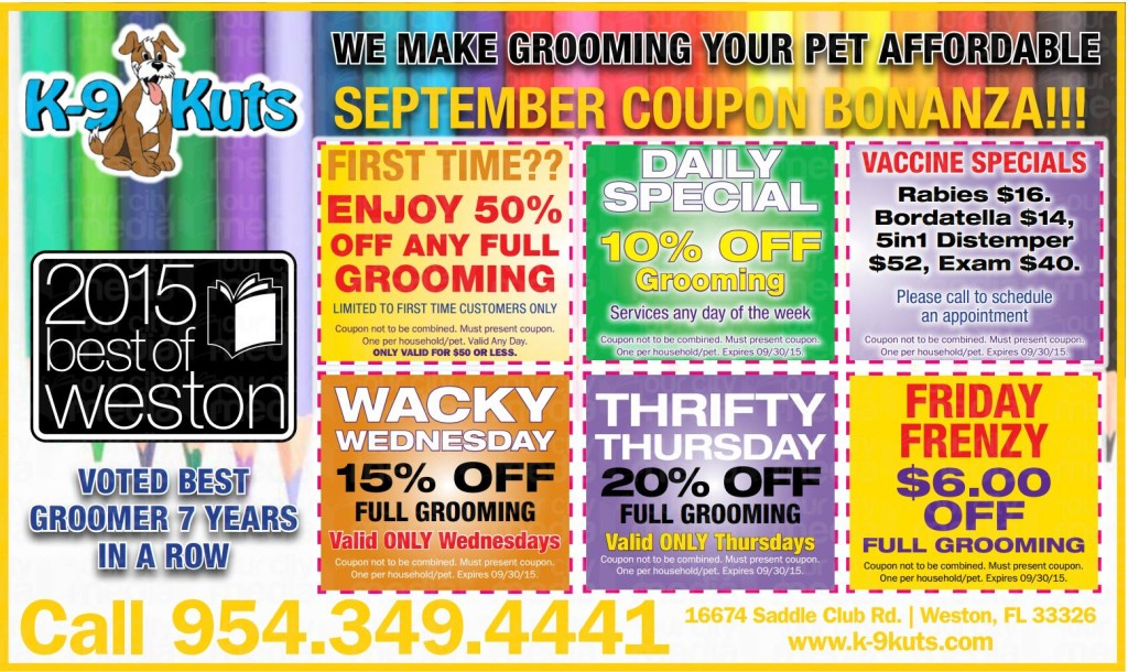 k-9 kuts affordable weston dog groomer september 2015 coupons special prices
