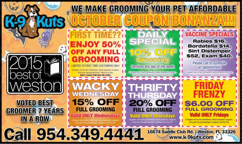 k-9 kuts affordable weston dog groomer October 2015 coupons special prices