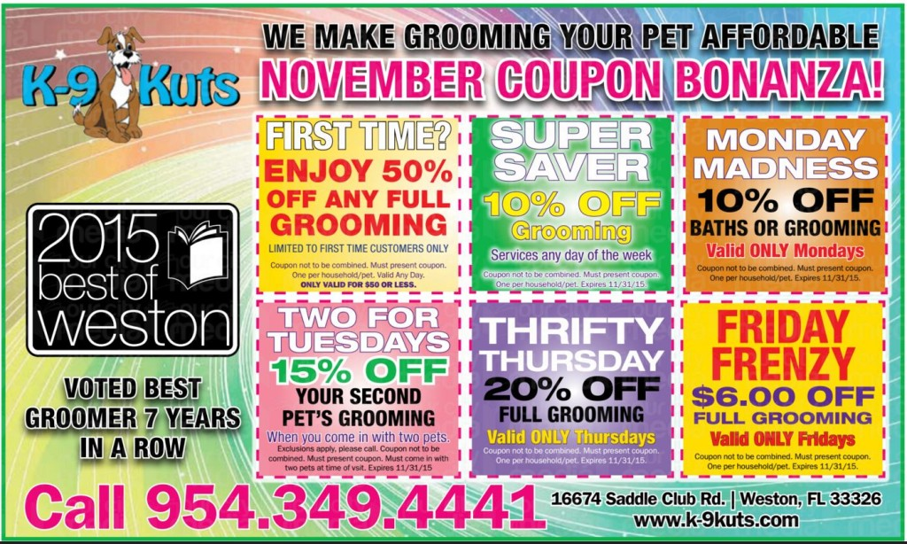 k-9 kuts affordable weston dog groomer November 2015 coupons special prices