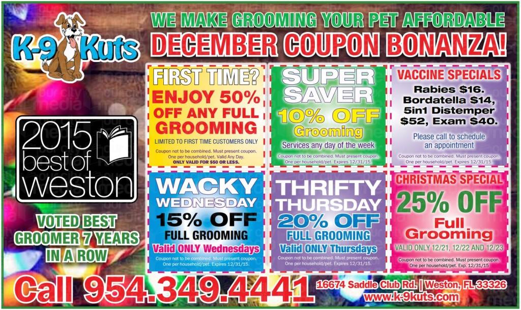 k-9 kuts weston dog groomer December 2015 coupons