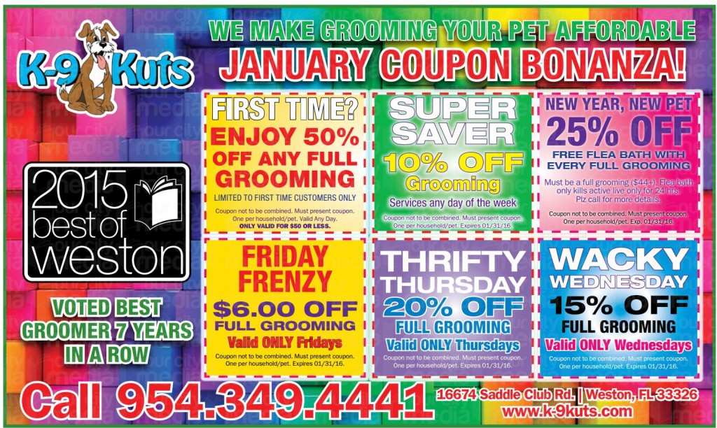 k-9 kuts affordable weston dog groomer January 2016 coupons special prices