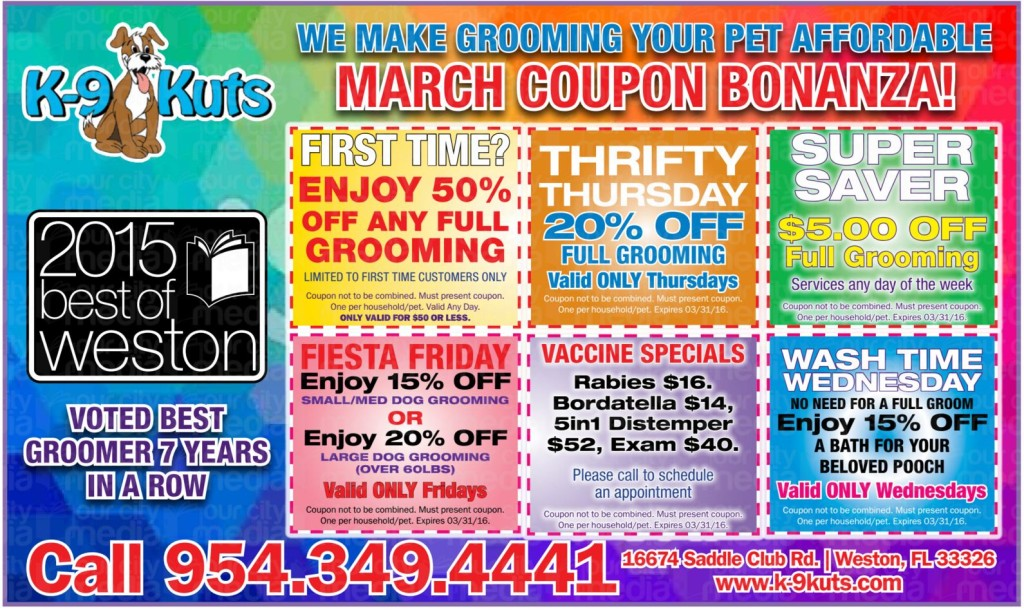 k-9 kuts affordable weston dog groomer march 2016 coupons special prices