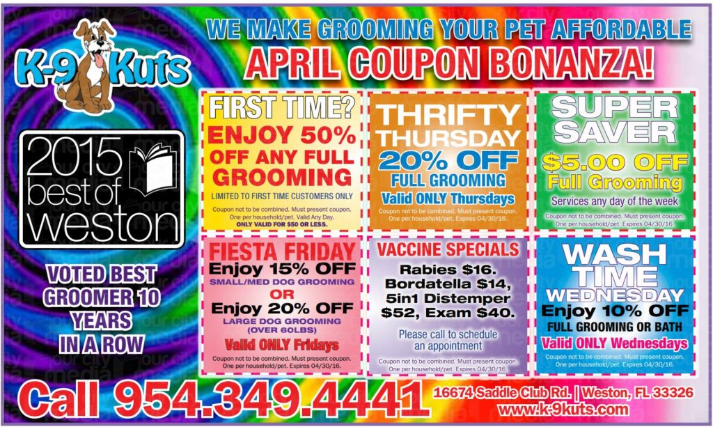 k-9 kuts weston dog groomer April coupons special prices 2016